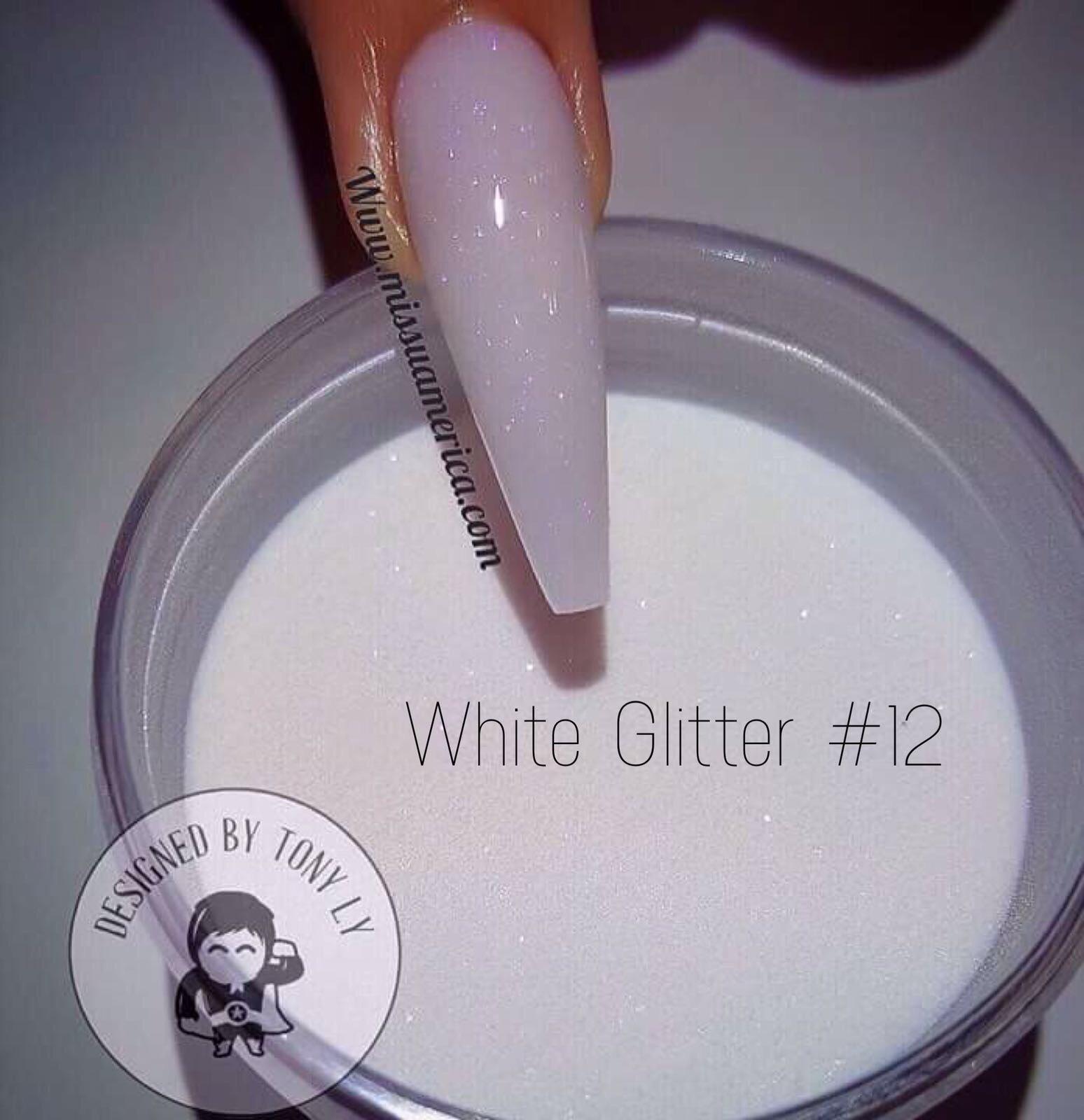 Missu Acrylic Powders - White Glitter #12 56g - Hollywood Nails ...